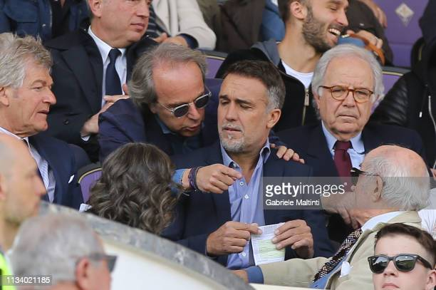 Gabriel Omar Batistuta former players of ACF Fiorentina and Andrea Della Valle president of ACF Fiorentina during the Serie A match between ACF...