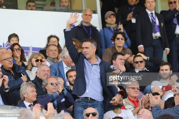 Gabriel Omar Batistuta former players of ACF Fiorentina during the Serie A match between ACF Fiorentina and Torino FC at Stadio Artemio Franchi on...