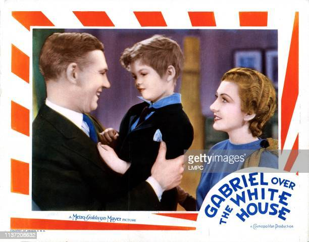 Gabriel Over The White House lobbycard from left Walter Huston Dickie Moore Karen Morley 1933