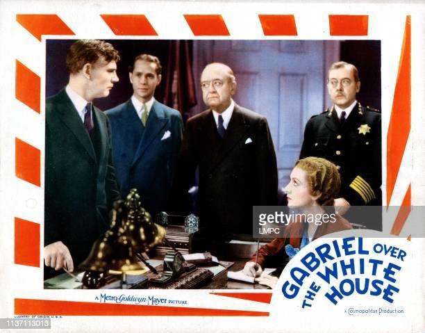 Gabriel Over The White House lobbycard from left Walter Huston Franchot Tone Karen Morley 1933