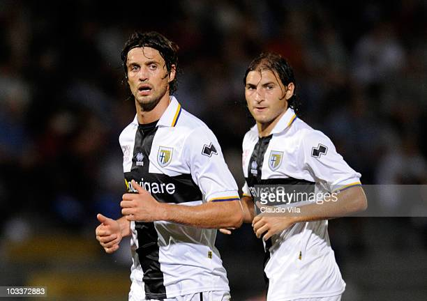 Gabriel Paletta and Massimo Paci of Parma FC during the Pre-Season Friendly match between Lucchese and Parma at Stadio Porta Elisa on August 13, 2010...