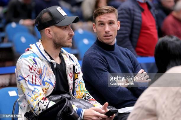 Gabriel Paletta, football palyer of A.C.Monza and Lucas Biglia, football player of A.C. Milan attending the 2019/2020 Turkish Airlines EuroLeague...