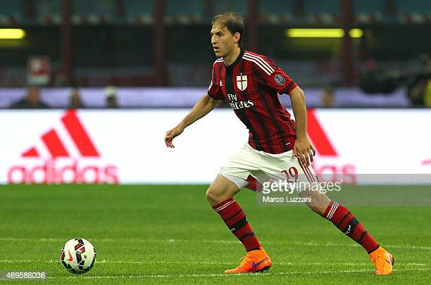 Gabriel Paletta of AC Milan in action during the Serie A match between AC Milan and UC Sampdoria at Stadio Giuseppe Meazza on April 12 2015 in Milan...
