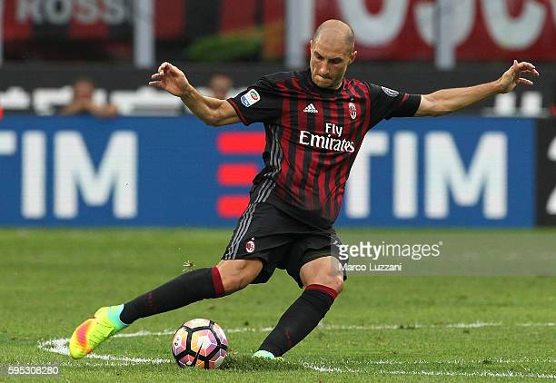 Gabriel Paletta of AC Milan in action during the Serie A match between AC Milan and FC Torino at Stadio Giuseppe Meazza on August 21 2016 in Milan...