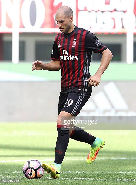 Gabriel Paletta of AC Milan in action during the Serie A match between AC Milan and Udinese Calcio at Stadio Giuseppe Meazza on September 11 2016 in...