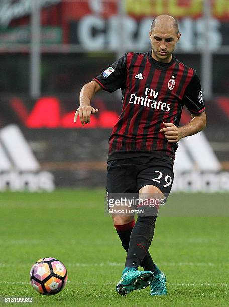 Gabriel Paletta of AC Milan in action during the Serie A match between AC Milan and US Sassuolo at Stadio Giuseppe Meazza on October 2 2016 in Milan...