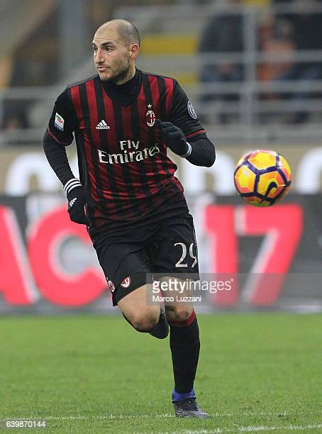 Gabriel Paletta of AC Milan in action during the Serie A match between AC Milan and SSC Napoli at Stadio Giuseppe Meazza on January 21 2017 in Milan...