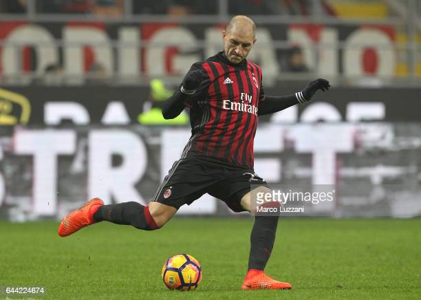 Gabriel Paletta of AC Milan in action during the Serie A match between AC Milan and ACF Fiorentina at Stadio Giuseppe Meazza on February 19 2017 in...