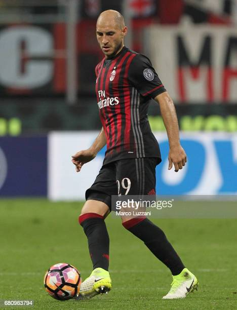 Gabriel Paletta of AC Milan in action during the Serie A match between AC Milan and AS Roma at Stadio Giuseppe Meazza on May 7 2017 in Milan Italy
