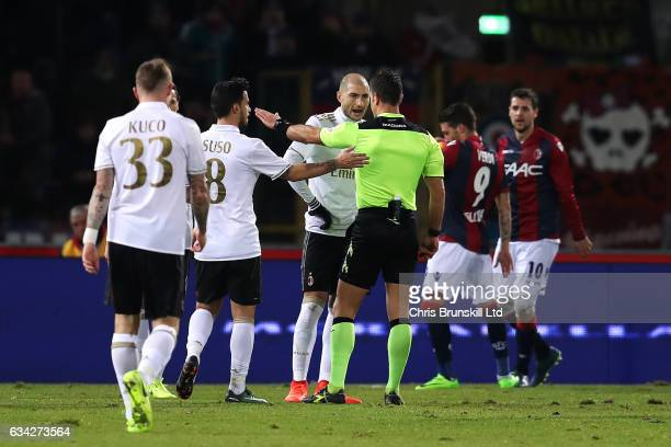 Gabriel Paletta of AC Milan is sentoff during the Serie A match between Bologna FC and AC Milan at Stadio Renato Dall'Ara on February 8 2017 in...