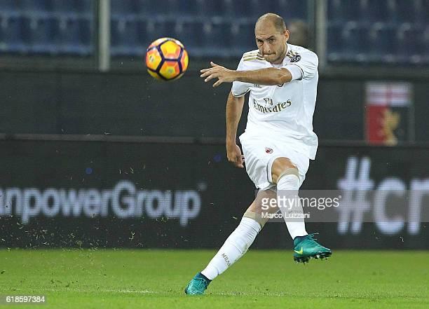 Gabriel Paletta of AC Milan kicks a ball during the Serie A match between Genoa CFC and AC Milan at Stadio Luigi Ferraris on October 25 2016 in Genoa...