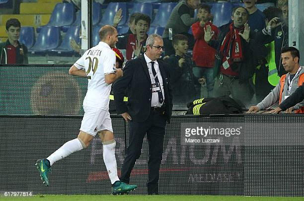 Gabriel Paletta of AC Milan walks off after getting a red card during the Serie A match between Genoa CFC and AC Milan at Stadio Luigi Ferraris on...