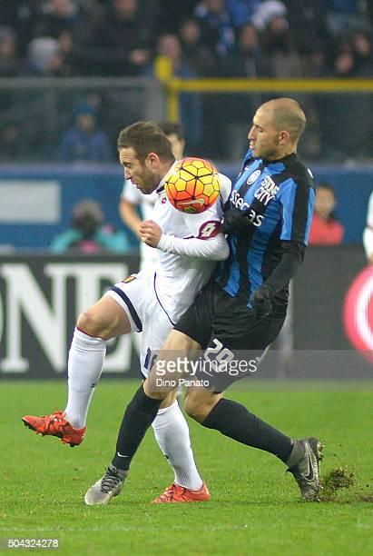 Gabriel Paletta of Atalanta BC competes with Diego Angel Capel Trinidad of Genoa CFC during the Serie A match between Atalanta BC and Genoa CFC at...