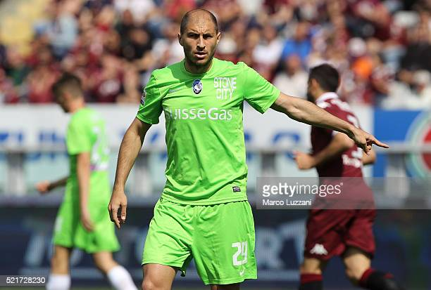 Gabriel Paletta of Atalanta BC gestures during the Serie A match between Torino FC and Atalanta BC at Stadio Olimpico di Torino on April 10 2016 in...