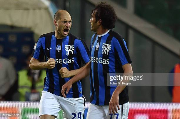 Gabriel Paletta of Atalanta celebrates after scoring his team's second goal during the Serie A match between US Citta di Palermo and Atalanta BC at...