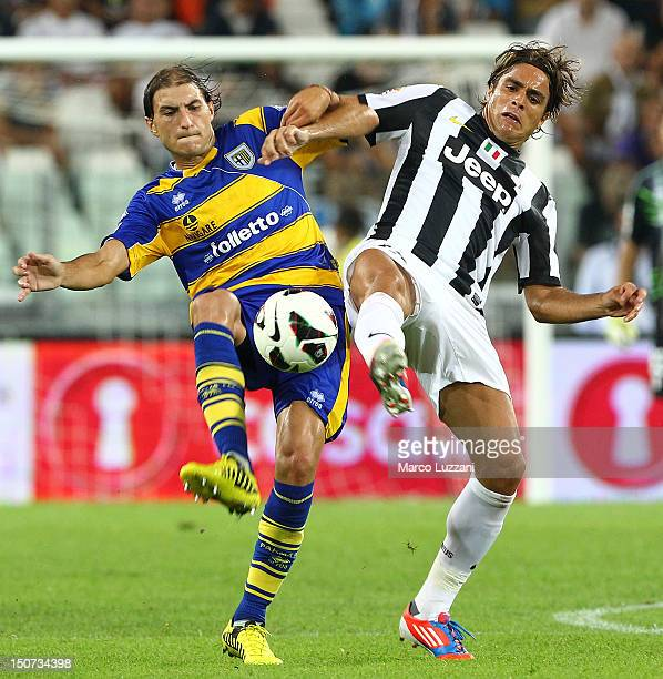 Gabriel Paletta of FC Parma competes for the ball with Alessandro Matri of Juventus FC during the Serie A match between Juventus and Parma FC at...