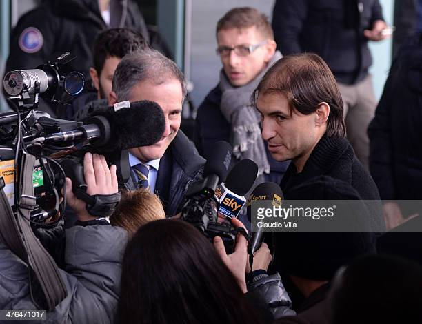 Gabriel Paletta of Italy arrives before the unveiling of the new Italy team kit at Malpensa Airport on March 3 2014 in Milan Italy