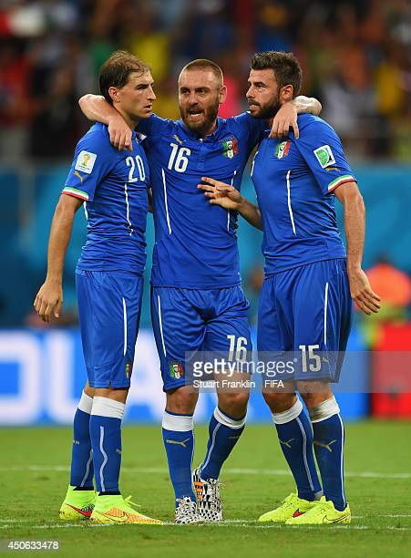 Gabriel Paletta of Italy Daniele De Rossi of Italy and Andrea Barzagli of Italy celebrate during the 2014 FIFA World Cup Brazil Group D match between...