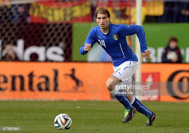 Gabriel Paletta of Italy in action during the international friendly match between Spain and Italy at Vicente Calderon Stadium on March 5 2014 in...