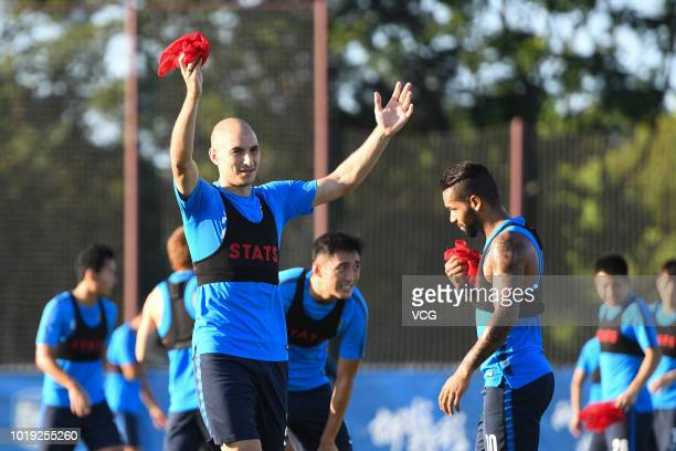 Gabriel Paletta of Jiangsu Suning attends a training session ahead of the 18th leg of the 2018 Chinese Super League on August 14 in Nanjing Jiangsu...