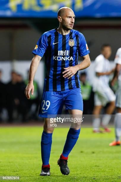Gabriel Paletta of Jiangsu Suning in action during the 2018 Chinese Super League match between Guangzhou RF and Jiangsu Suning at Yuexiushan...
