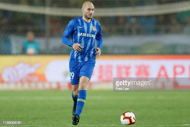 Gabriel Paletta of Jiangsu Suning in action during the 2019 China Super League between Beijing Guoan and Jiangsu Suning at Workers Stadium on April 5...