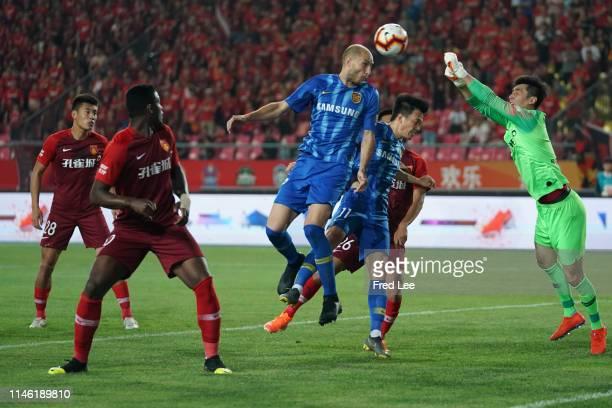 Gabriel Paletta of Jiangsu Suningi in action during 2019 China Super League between Hebei China Fortune and Jiangsu Suningi at Langfang Sports Center...