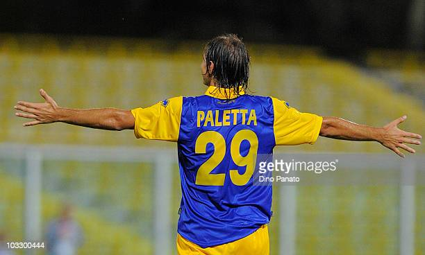 Gabriel Paletta of Parma celebrates after scoring his first goal during the preseason friendly match between Parma and Cesena at Manuzzi Stadium on...