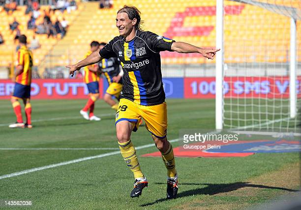 Gabriel Paletta of Parma celebrates after scoring the goal 02 during the Serie A match between US Lecce and Parma FC at Stadio Via del Mare on April...