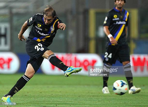 Gabriel Paletta of Parma FC kicks a ball during the TIM Cup match between Parma FC and US Lecce at Stadio Ennio Tardini on August 17 2013 in Parma...