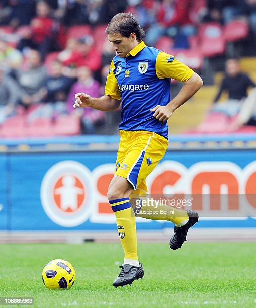 Gabriel Paletta of Parma in action during the Serie A match between SSC Napoli and FC Parma at Stadio San Paolo on November 7 2010 in Naples Italy