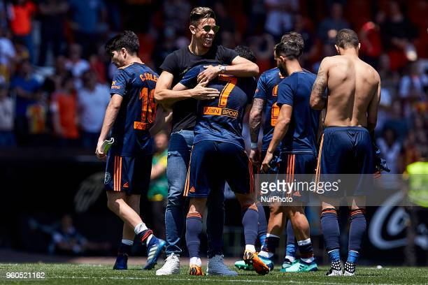 Gabriel Paulista celebrates the victory during the La Liga game between Valencia CF and Deportivo de la Coruna at Mestalla on May 20 2018 in Valencia...