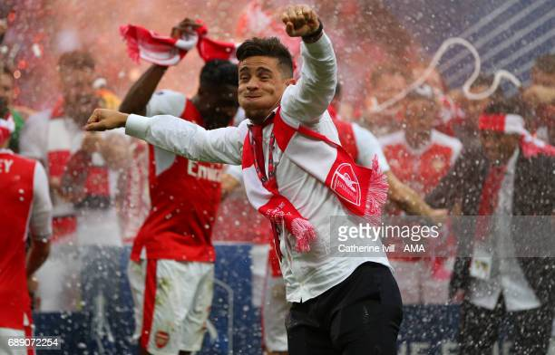 Gabriel Paulista of Arsenal celebrates during the Emirates FA Cup Final match between Arsenal and Chelsea at Wembley Stadium on May 27 2017 in London...