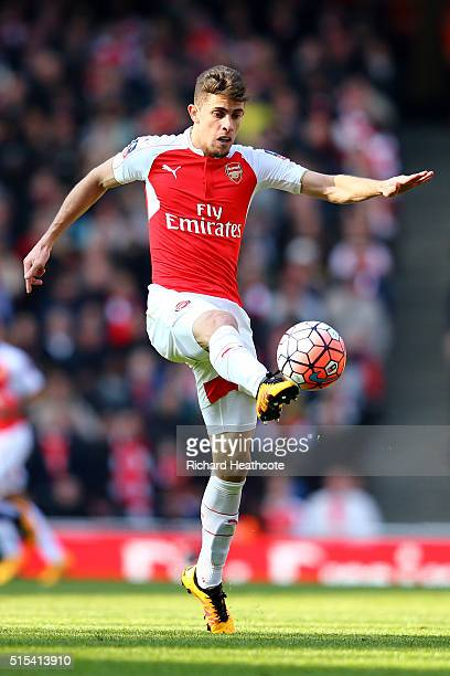 Gabriel Paulista of Arsenal in action during The Emirates FA Cup Sixth Round match between Arsenal and Watford at the Emirates Stadium on March 13...