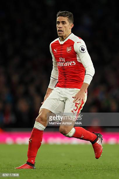 Gabriel Paulista of Arsenal in action during the Premier League match between Arsenal and AFC Bournemouth at Emirates Stadium on November 27 2016 in...