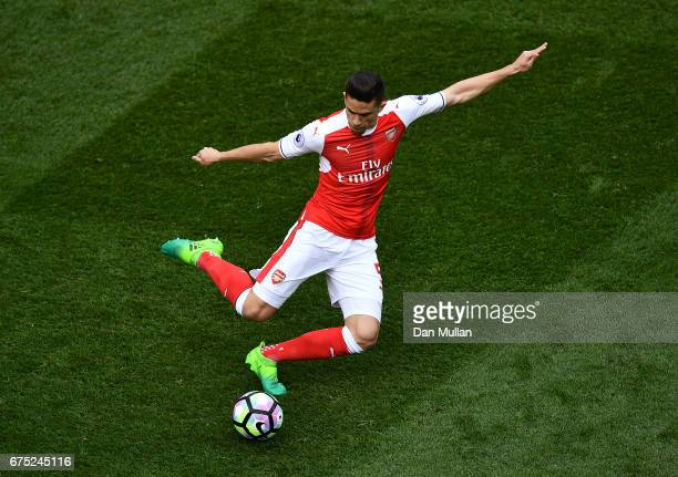 Gabriel Paulista of Arsenal lines up a pass during the Premier League match between Tottenham Hotspur and Arsenal at White Hart Lane on April 30 2017...