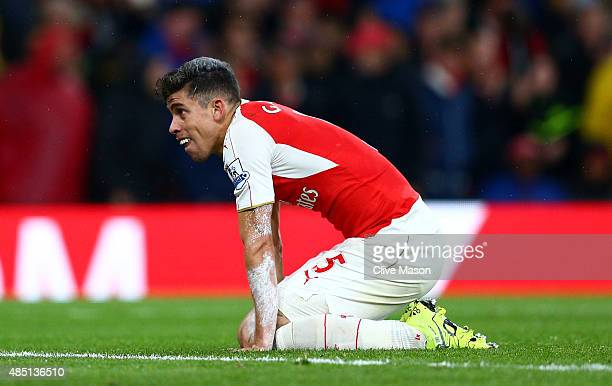 Gabriel Paulista of Arsenal reacts during the Barclays Premier League match between Arsenal and Liverpool at the Emirates Stadium on August 24 2015...