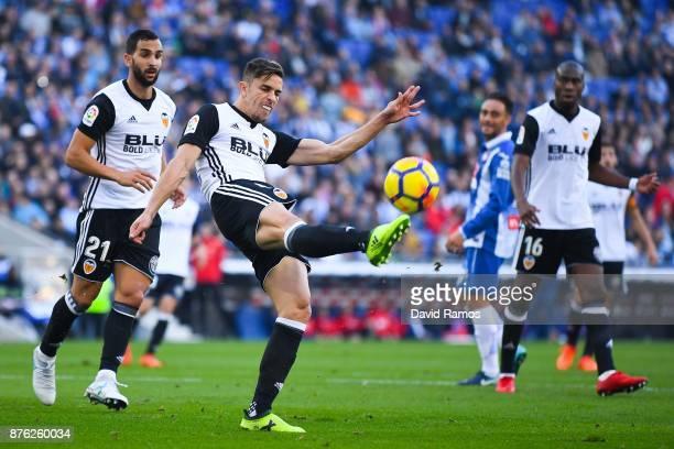Gabriel Paulista of Valencia CF clears the ball during the La Liga match between Espanyol and Valencia at Cornella El Prat stadium on November 19...