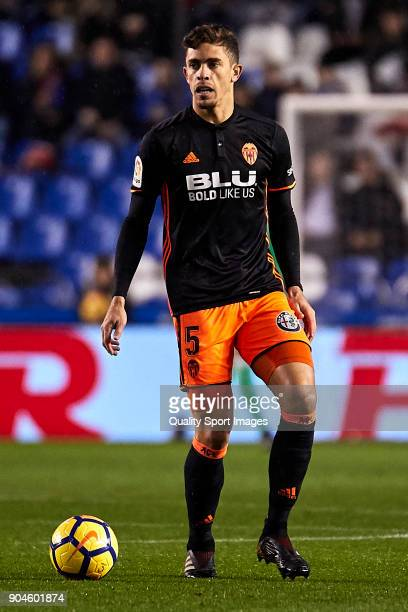 Gabriel Paulista of Valencia CF in action during the La Liga match between Deportivo La Coruna and Valencia CF at Abanca Riazor Stadium on January 13...