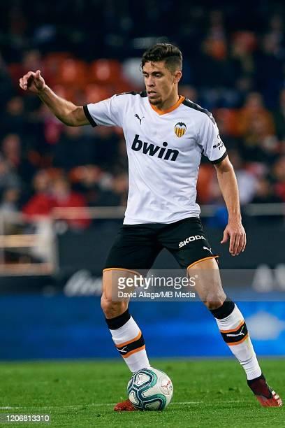Gabriel Paulista of Valencia CF in action during the Liga match between Valencia CF and Club Atletico de Madrid at Estadio Mestalla on February 14...