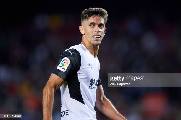 Gabriel Paulista of Valencia CF looks on during the LaLiga Santander match between FC Barcelona and Valencia CF at Camp Nou on October 17, 2021 in...