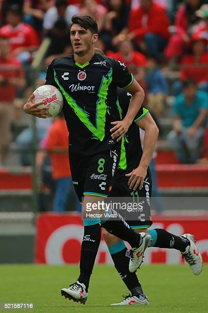 Gabriel Peñalba of Veracruz celebrates after scoring the first goal of his team during the 14th round match between Toluca and Veracruz as part of...