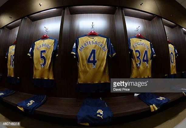 Gabriel Per Mertesacker and Francis Coquelin's kit hanging in the changing room before the match between Arsenal and Singapore XI at Singapore...