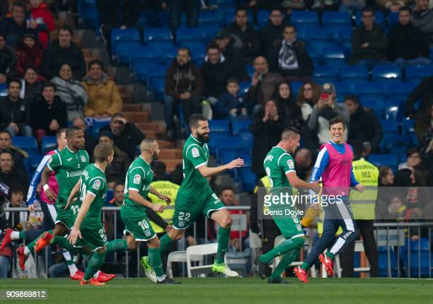 Gabriel Pires of CD Leganes celebrates after scoring his teamÕs second goal during the Copa del Rey Quarter Final Second Leg match between Real...