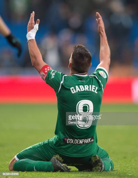 Gabriel Pires of CD Leganes celebrates after they beat Real Madrid 21 on aggregate in the Copa del Rey Quarter Final Second Leg match between Real...