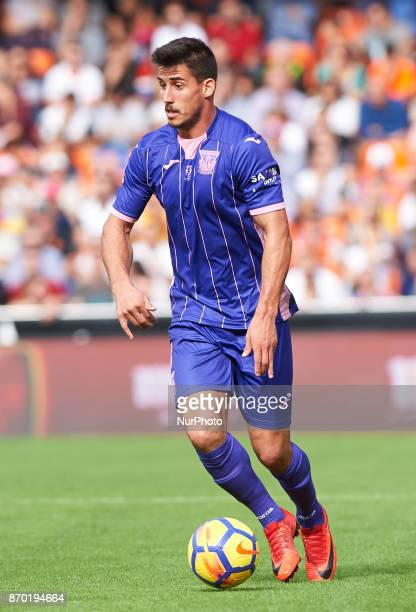 Gabriel Pires of Club Deportivo Leganes in action during the La Liga match between Valencia CF and Club Deportivo Leganes at Estadio Mestalla on...