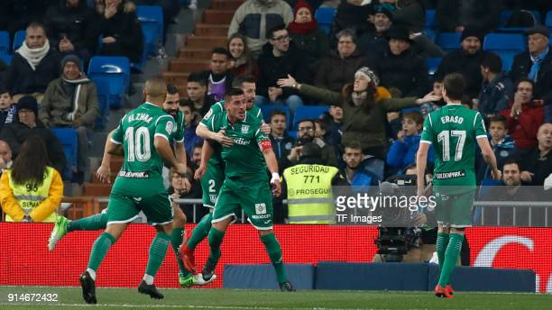 Gabriel Pires of Leganes celebrates after scoring his team`s second goal with team mates during the Copa del Rey quarter final match between Real...