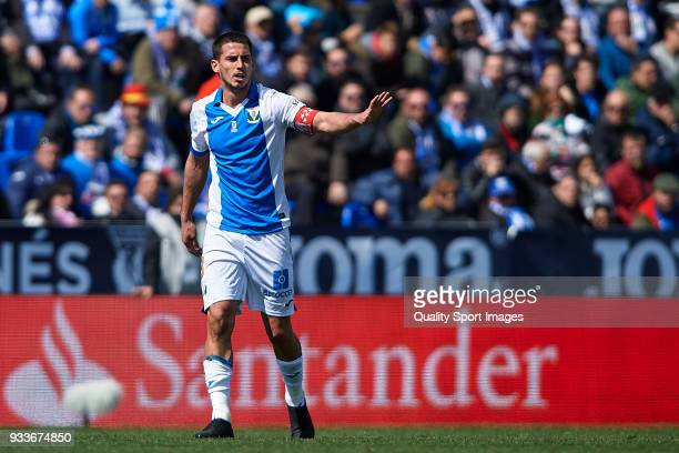 Gabriel Pires of Leganes reacts during the La Liga match between Leganes and Sevilla at Estadio Municipal de Butarque on March 18 2018 in Leganes...