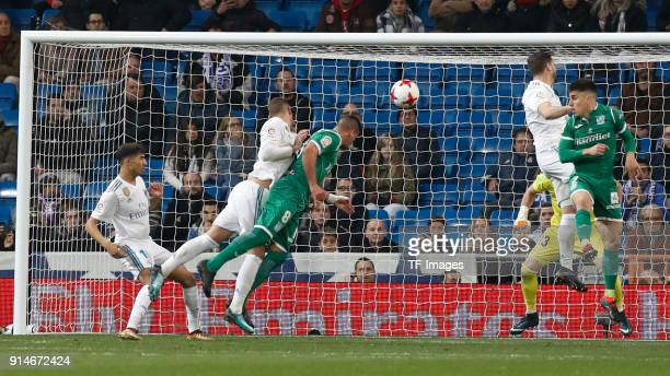Gabriel Pires of Leganes scores the team`s second goal during the Copa del Rey quarter final match between Real Madrid and Leganes at the Santiago...