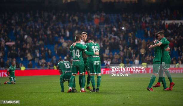 Gabriel Pires Raul Garcia and Diego Rico of CD Leganes celebrate after they beat Real Madrid 21 on aggregate in the Copa del Rey Quarter Final Second...